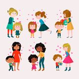 Valentines day vector loving family mothers day mom and kids valentine lovely heart girl or boy kissing and hugging. Child with gift flowers and balloons Royalty Free Stock Photography