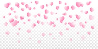 Valentines day vector with pink shaded falling hearts on transparent background. stock illustration