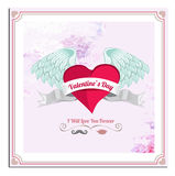 Valentines Day Vector Postcard, Illustrations and Typography Elements Stock Images