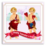 Valentines Day Vector Postcard, Illustrations and Typography Elements Royalty Free Stock Photography