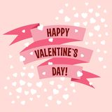 Valentines Day vector ribbon label Stock Photos