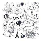 Valentines day vector set. Black-white sketch valentines day vector set, doodle illustration Royalty Free Stock Photos