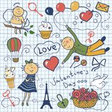 Valentines day vector set. Romantic doodle illustration Royalty Free Stock Photo