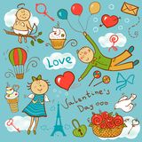 Valentines day vector set. Romantic doodle illustration Royalty Free Stock Photography