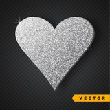 Vector Silver sparkles heart. Valentines Day Vector Sparkles and Glitters. Holiday Design. Valentines Day Vector Sparkles and Glitters. Heart shape stock illustration