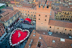 Valentines day in Verona. Celebration of valentines day in Verona, View of Piazza dei Signori from Torre dei Lamberti Royalty Free Stock Photo