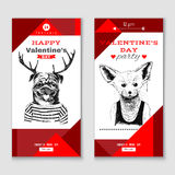 Valentines Day vertical banners Royalty Free Stock Photography