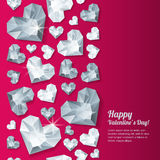 Valentines day  vertical red background with 3d silver heart diamonds, gems, jewels. Stock Photos