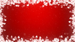 Valentines Day Video Frame with Flying Hearts on Red Background. stock video footage