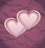 Valentines Day vintage background with hearts Stock Photos