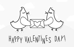 Valentines day vintage background with love birds, message and heart. Stock Photography
