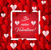 Valentines day, vintage background with paper hearts Stock Photo