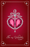 Valentines day vintage card with brilliant heart. Royalty Free Stock Image