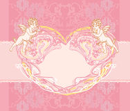 Valentines day vintage card with cupids Royalty Free Stock Image