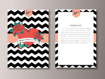 Valentines Day vintage card  front and back side template Royalty Free Stock Photography