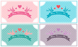 Valentines Day vintage card set  decorated with lace, birds and ribbons. Royalty Free Stock Images