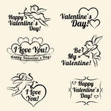 Valentines day vintage card templates of banners Stock Photos