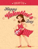 Valentines Day vintage greeting card with a girl Royalty Free Stock Images