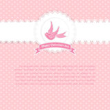 Valentines Day vintage lace card with bird and banner and place for text. Royalty Free Stock Photography