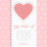 Valentines Day vintage lace card with heart and place for text. Royalty Free Stock Photo