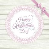 Valentines Day vintage lace card on wood. EPS 10 Stock Photography