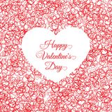 Valentines day vintage lettering background with. Hearts vector illustration Royalty Free Stock Image