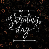 Valentines day vintage lettering background for holiday card. Stock Photos