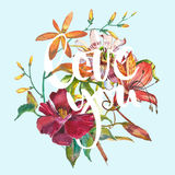 Valentines day vintage lettering background. Watercolor Flower Royalty Free Stock Images