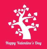 Valentines day vintage pink - white tree with hearts icon. Valentines day vintage white tree with hearts icon on pink background. Valentine's day card concept Stock Photos