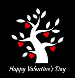 Valentines day vintage tree with hearts icon. Valentine's day card concept. Vector design Royalty Free Stock Photo