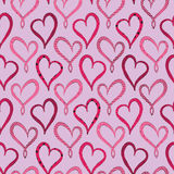 Valentines Day Violet Hearts seamless pattern. On pink background Stock Photos