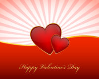 Valentines day wallpaper. With hearts on rays background Stock Photo