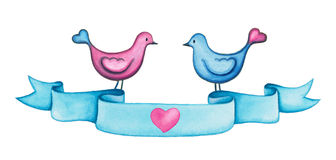 Valentines day watercolor blue ribbon banner with two love birds. Royalty Free Stock Photo