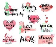 Valentines day watercolor hand drawn design elements with calligraphy. Handwritten modern lettering. Flower, cat with. Heart, champagne, gift and other items Stock Photos