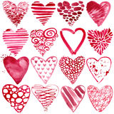 Valentines day watercolor red heart. Stock Image