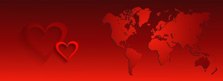 Valentines day web and business header. Background with world map and with hearts Stock Image