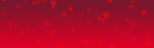 Valentines day web header. Cute pink falling hearts valentines day web site header / banner / pattern Royalty Free Stock Photography