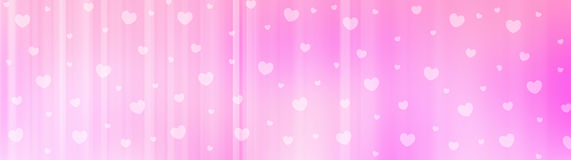 Valentines day web header. Cute pink falling hearts valentines day web site header / banner / pattern Stock Images
