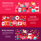 Valentines Day Web Horizontal Banners Stock Photography