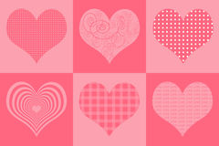 Valentines day and Wedding Card with different heart textures Royalty Free Stock Photo