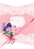 Valentines Day or Wedding card with pansy flowers, Stock Photo
