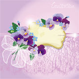 Valentines Day or Wedding card with pansy and forg Stock Photo
