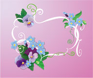 Valentines Day or Wedding card with pansy and forg Stock Images