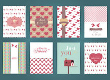 Valentines day and Wedding day Set. Vintage and romantic backgrounds. Vector Design Templates Collection for Banners, Flyers, Plac Royalty Free Stock Images