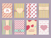 Valentines day and Wedding day Set. Vintage and romantic backgrounds. Vector Design Templates Collection for Banners, Flyers, Plac Royalty Free Stock Photos