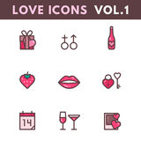Valentines Day and wedding icons. Valentines Day and wedding outline icons. Love concept in linear style. Vector illustration EPS10 Stock Photo