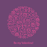 Valentines Day and wedding icons. Purple pink Valentines Day and wedding icons. Love concept in monoline style. Vector illustration EPS10 Royalty Free Stock Image