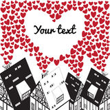 Valentines day, wedding illustration with heart and old houses. Vector illustration royalty free illustration