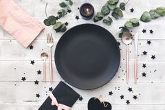 Valentines day  or wedding meal background. Romantic holiday table setting Royalty Free Stock Photo