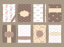 Valentines day and Wedding  Set. Vintage romantic backgrounds. Vector Design Templates Collection for Banners, Placards, Posters Royalty Free Stock Photos